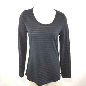 Fabletics Shirt Scoop Tee Long Sleeve II Stripe